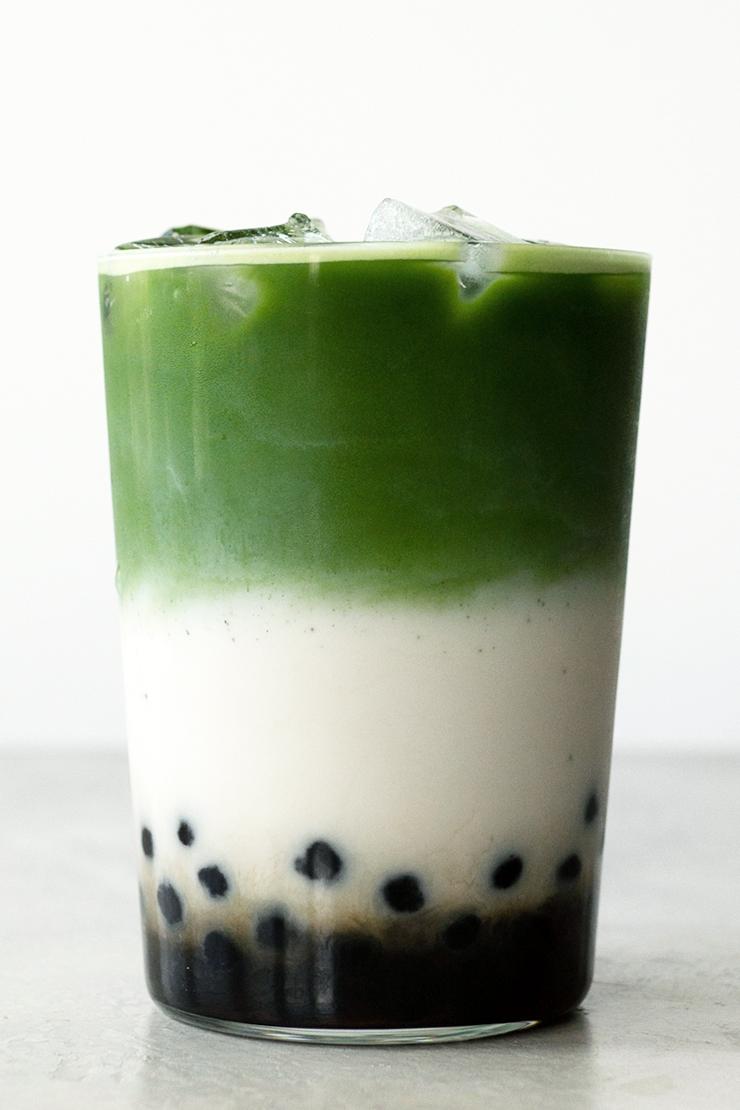 Recette thé Matcha aux perles et à la pêche / Matcha & peach boba tea recipe