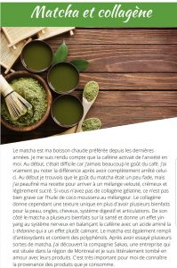 Matcha collagène