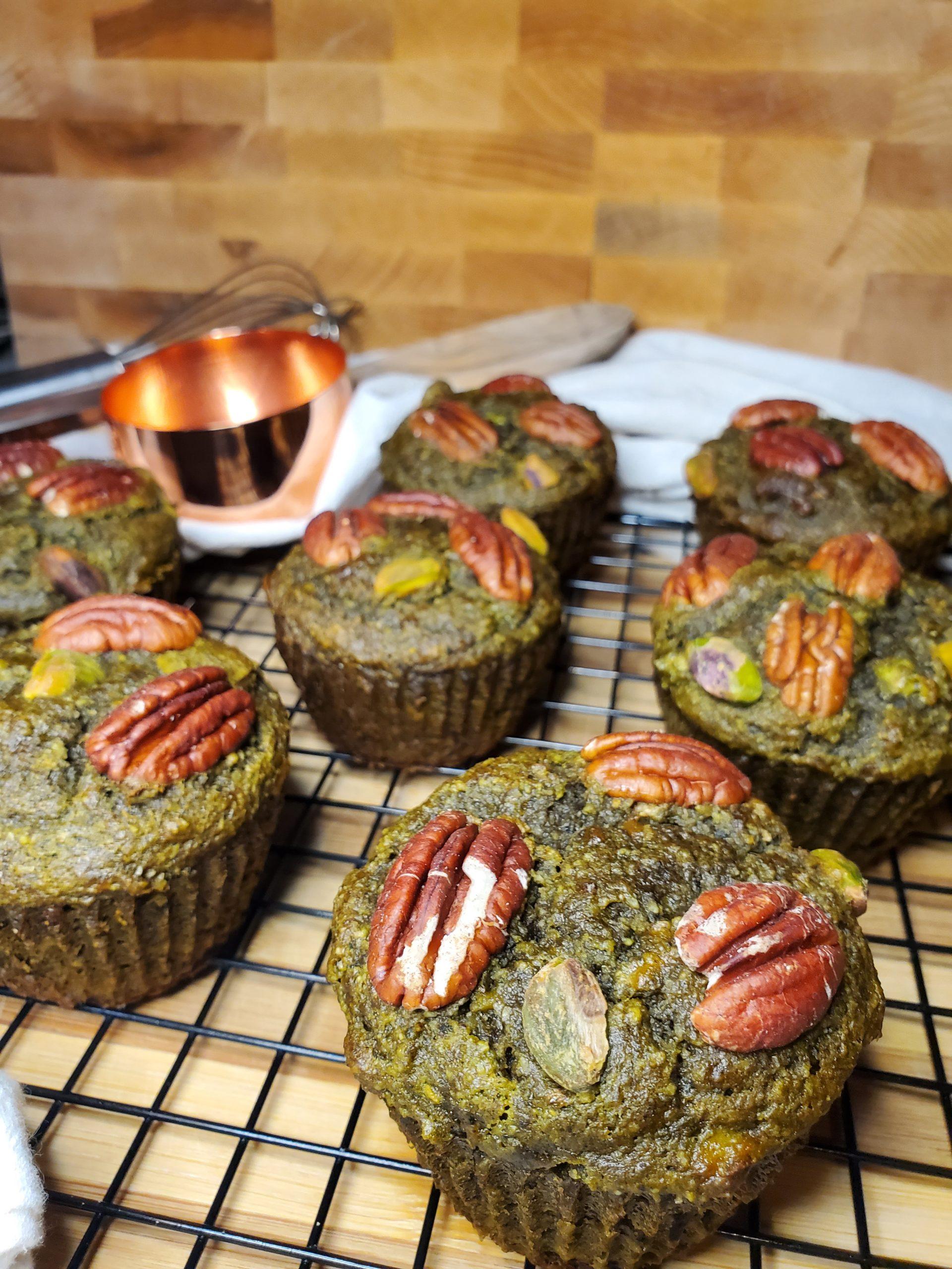 muffin au matcha et aux bananes